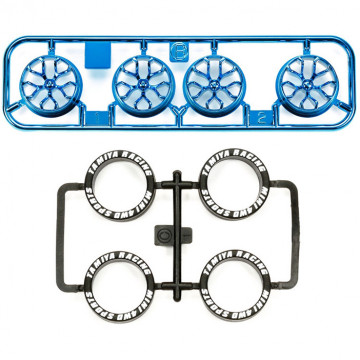 Cerchi Blu Metallizzati con Razze a Y e Gomme Low Profile